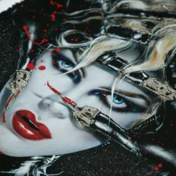 Chat Noir XL Deluxe Diamond Dust Fine Art Print Close Crop on Catwoman's Face 3