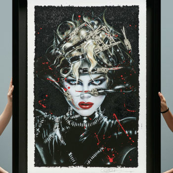 Chat Noir XL Deluxe Diamond Dust Fine Art Print Held by Two Pairs of Hands for Scaling