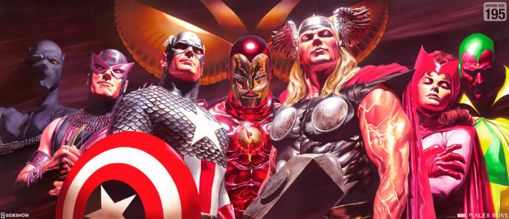 Alex Ross Drafts the Classic Avengers in the Assemble Fine Art Deluxe Lithograph