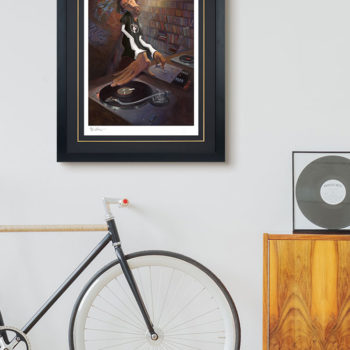 BUA's The DJ Fine Art Print Black Framed Edition on Environment Wall