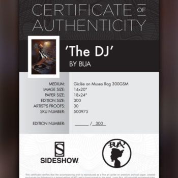 BUA's The DJ Fine Art Print Certificate of Authenticity for Black Framed Edition