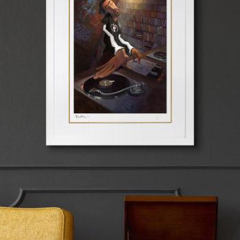 BUA's The DJ Fine Art Print White Framed Edition on Environment Wall