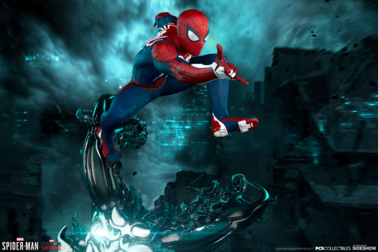 Peter Parker Swings from Screen to Shelf with the Spider-Man Advanced Suit 1:3 Scale Statue by PCS Collectibles