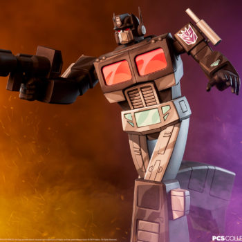 Nemesis Prime Classic Scale Statue by PCS Collectibles with Dramatic Lighting 2