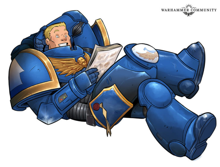 An armored man reading a comic book