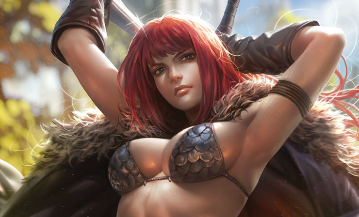 The She-Devil Draws Her Sword in the Red Sonja Fine Art Print by Derrick Chew