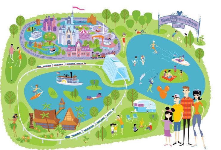 Josh Agle- Artist Shag Map of Disneyland