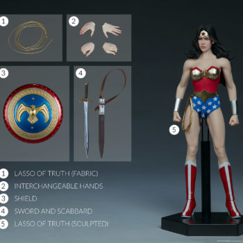 Wonder Woman Sixth Scale Figure with All Accessories- Sword, Shield, Hands, Lasso