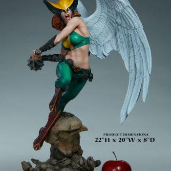 "Hawkgirl Premium Format™ Figure Measurements- 22""H x 20""W x 8""D"