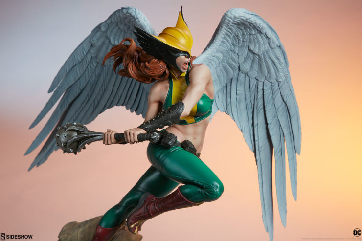 Hawkgirl Premium Format™ Figure with Dramatic Lighting, from Side