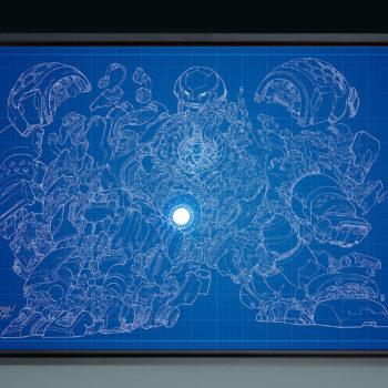 Hulkbuster Blueprint Variant HD Aluminum Metal Print by Erwin Papa Framed