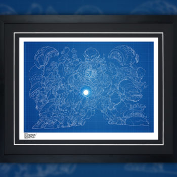 Hulkbuster Blueprint Variant Fine Art Print by Erwin Papa Black Framed Edition