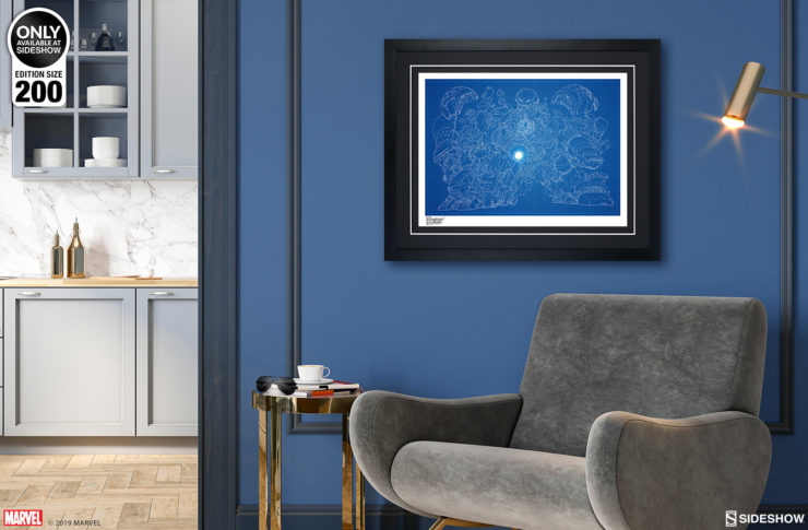 Hulkbuster Blueprint Variant Fine Art Print by Erwin Papa Black Framed Edition on Environment Wall