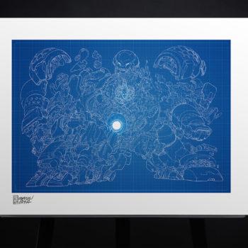 Hulkbuster Blueprint Variant Fine Art Print by Erwin Papa Unframed Edition