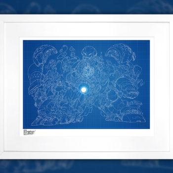 Hulkbuster Blueprint Variant Fine Art Print by Erwin Papa White Framed Edition