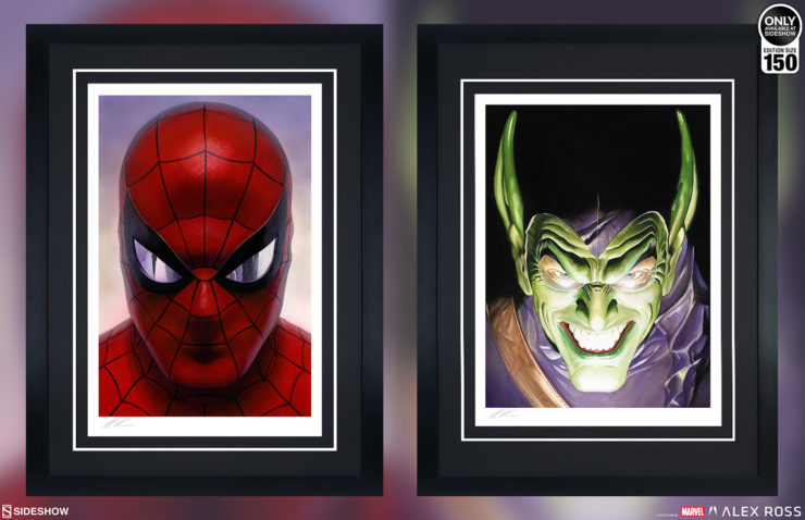 Spider-Man: Portraits of Heroism & Green Goblin: Portraits of Villainy Fine Art Lithograph Set by Alex Ross Black Framed Edition