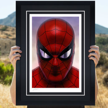 Spider-Man: Portraits of Heroism & Green Goblin: Portraits of Villainy Fine Art Lithograph Set by Alex Ross- Black Framed Spider-Man Portrait in Open Lighting