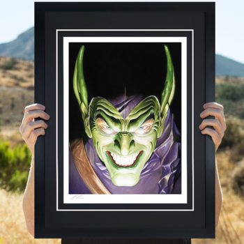 Spider-Man: Portraits of Heroism & Green Goblin: Portraits of Villainy Fine Art Lithograph Set by Alex Ross- Black Framed Green Goblin Print in Open Lighting