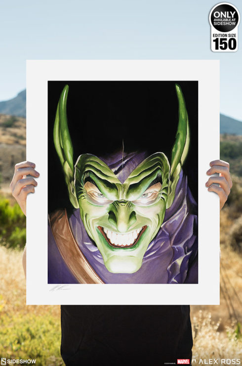 Spider-Man: Portraits of Heroism & Green Goblin: Portraits of Villainy Fine Art Lithograph Set by Alex Ross Unframed Green Goblin Print