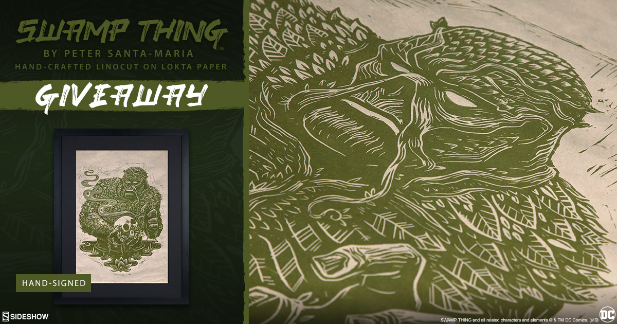 Swamp Thing Linocut Fine Art Print Giveaway