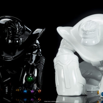 Thanos: The Mad Titan Infinity-Size Black Gloss Edition and White Gloss Edition Side by Side
