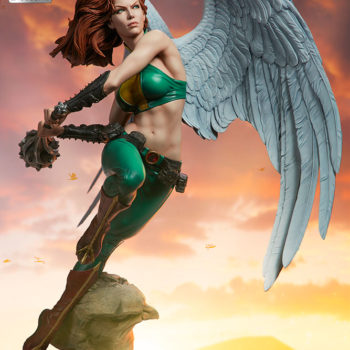 Hawkgirl Premium Format™ Figure Exclusive Edition Unhelmeted Portrait with Dramatic Lighting