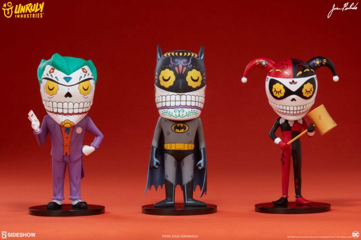 Jose Pulido- The Joker, Batman, Harley Quinn Calavera Designer Toys