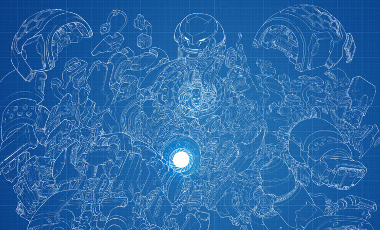 Step into Tony Stark's Workshop with the Hulkbuster Fine Art Print and Blueprint Variant by Erwin Papa and Fabian Schlaga