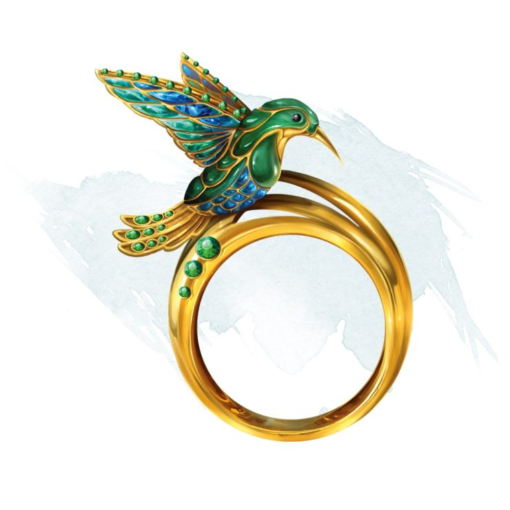 Ring of Evasion DnD 5e Official Artwork- Gold Ring with Hummingbird
