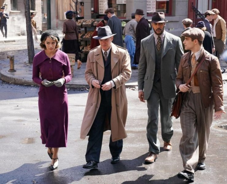 the Agents of SHIELD walking through the streets in the early 20th century
