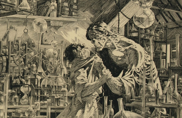Bernie Wrightson Frankenstein Cover Art with The Daemon grabbing and threatening Dr. Frankenstein