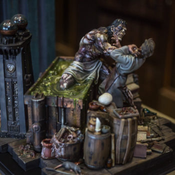 Bernie Wrightson Sideshow Sculpture with The Daemon' rising from a grimy green pit