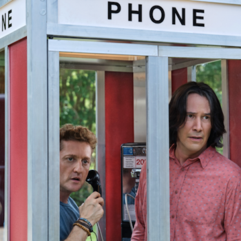 Bill and Ted Face the Music in their phone booth