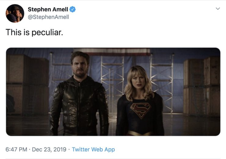 "Stephen Amell's post on Twitter with a caption saying ""this is peculiar"""