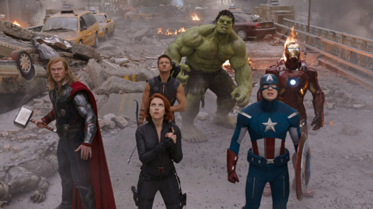 Avengers 2012 Movie Group Shot- Hulk, Black Widow, Hawkeye, Captain America, Iron Man, Thor