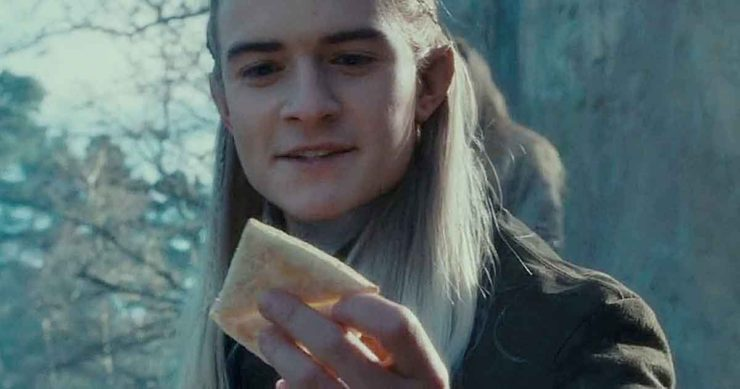Legolas in Lord of the Rings with Lembas Bread