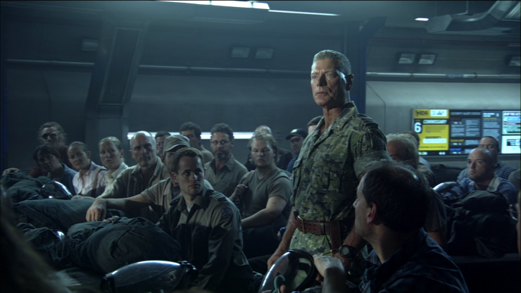 Miles Quaritch talking to his soldiers in James Cameron's Avatar