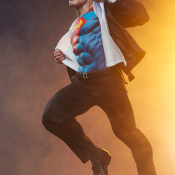 Superman full body left view as he springs into action