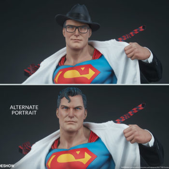 Superman Call To Action Premium Format Figure comparison between head sculpt with hat and glasses and one without