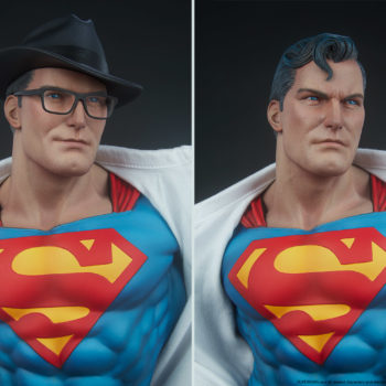 Superman Call To Action Premium Format Figure split screen featuring one with hat and glasses and one without