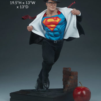 Superman Call To Action Premium Format Figure Size comparison to apple