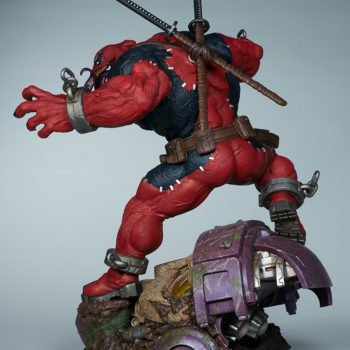Full over the shoulder view of Venompool, standing on a sentinel's head
