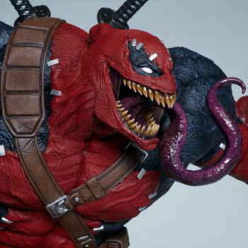 Side view Closeup on Venompool's terrifying tongue slithering out of his mouth