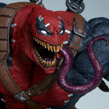 Front view Closeup on Venompool's terrifying tongue slithering out of his mouth