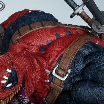 looking down on Venompool's head and heavily arched and muscular back