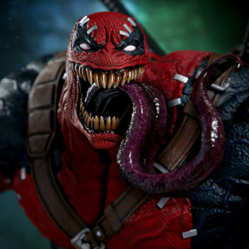 Closeup on Venompool's face with his tongue snaking out of his mouth
