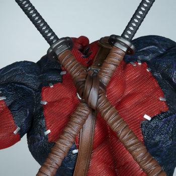 closeup on Venompool's swords resting on his back