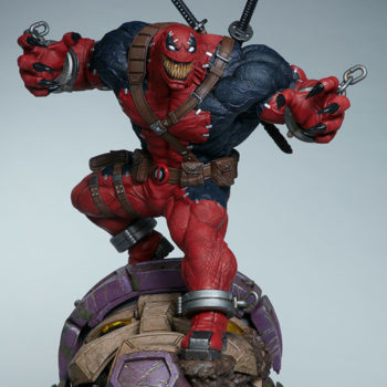Full front view of Venompool, standing on a sentinel's head with his grin