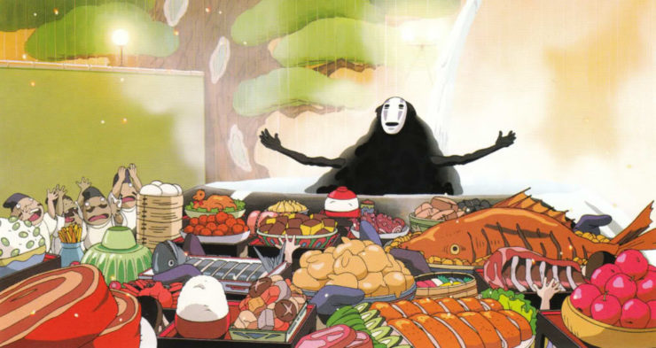 No-Face from Spirited Away at a Feast