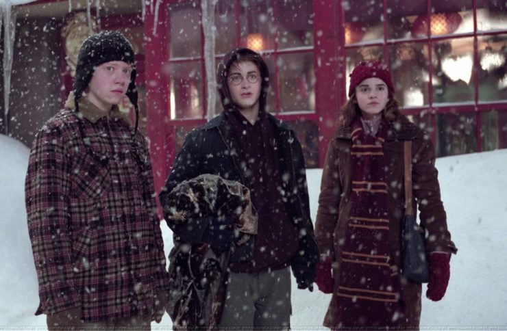 Harry, Ron, and Hermione in Hogsmeade during Winter